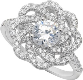 Crislu Prong Set CZ & Pave Floral Halo Ring
