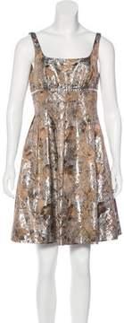 Carmen Marc Valvo Floral Brocade Dress