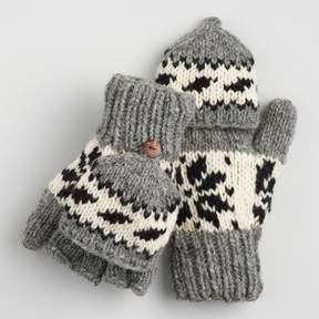 World Market Black and Gray Wool Snowflake Convertible Gloves