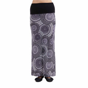 24/7 Comfort Apparel Black And White Oriental Printed Fold Over Maxi Skirt