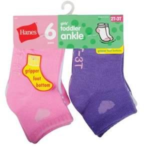 Hanes Baby Toddler Girl Ankle Socks - 6 Pair