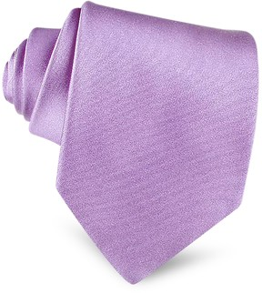 Forzieri Lilac Solid Smooth Extra-Long Pure Silk Tie