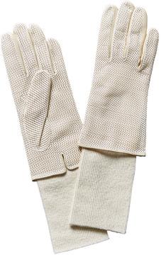 Portolano White Perforated Leather Gloves