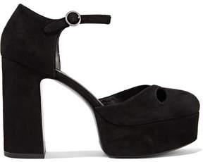Marc Jacobs Lucille Cutout Suede Platform Pumps - Black