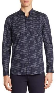 Saks Fifth Avenue MODERN Mandarin Collar Printed Woven Button-Down Shirt