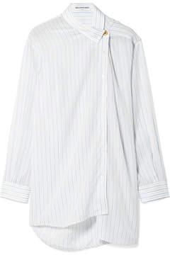 Balenciaga Oversized Asymmetric Striped Georgette Shirt - Blue