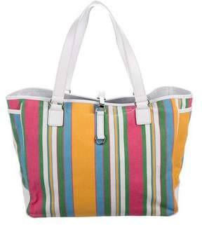 Lambertson Truex Leather-Trimmed Striped Canvas Tote