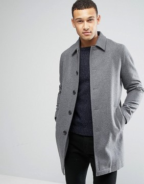 Asos Wool Mix Trench Coat In Light Gray Marl