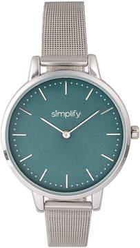 Simplify Silver & Teal The 5800 Mesh Bracelet Watch