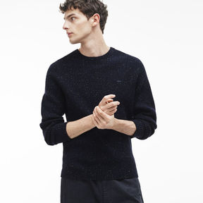 Lacoste Men's Crew Neck Two-tone Polka Dot Waffle Stitch Wool Sweater