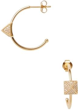 Amrapali Women's 18K Yellow Gold & 0.35 Total Ct. Pave Diamond Pyramid Hoop Earrings