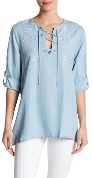 Karen Kane Embroidered Lace Up Top