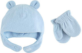 Luvable Friends Light Blue Bear Fleece Hat & Mittens - Infant & Toddler