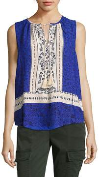 Collective Concepts Women's Printed Tassel Tank Top
