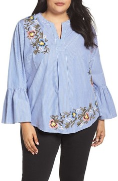 Caslon Plus Size Women's Embroidered Bell Sleeve Top