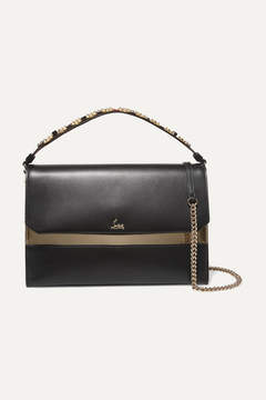 Christian Louboutin Loubiblues Studded Leather Shoulder Bag - Black