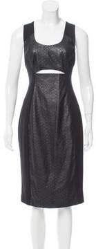 Black Halo Perforated Vegan Leather Dress