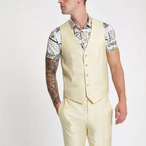 River Island Mens Yellow single-breasted vest