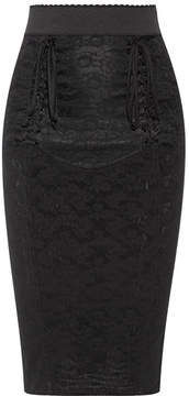 Dolce & Gabbana Lace-up Mesh-jacquard Pencil Skirt - Black