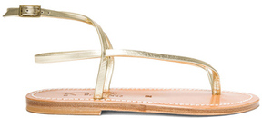 K. Jacques Delta Metallic Leather Ankle Strap Sandals in Metallics.