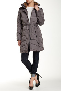 Cole Haan Belted Down Faux Fur Collar Coat