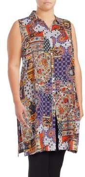 Context Plus Printed Button-Front Tunic