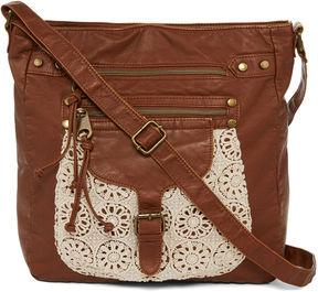 ARIZONA Arizona Single-Pocket Crochet Trim Crossbody Bag