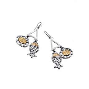 Azza Fahmy Sterling Silver & 18 Carat Yellow Gold Symbol Earrings