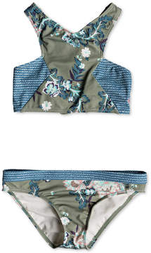Roxy Big Girls 2-Pc. Floral-Print Crop-Top Swim Suit
