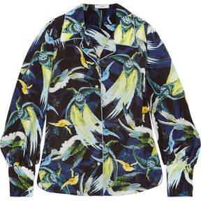 Erdem Fae Printed Silk Crepe De Chine Shirt - Midnight blue