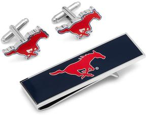 Ice SMU Mustangs Cufflinks and Money Clip Gift Set