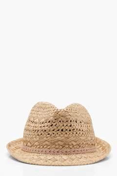 boohoo Aztec Trim Straw Trilby Hat