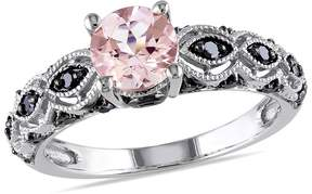 Black Diamond Amour 1/4 CT TW And 4/5 CT TGW Morganite Fashion Ring 10k White Gold Black Rhodium Plated Size 5