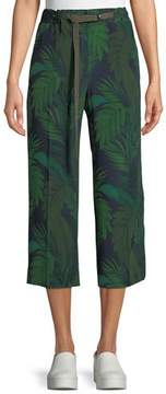 Moncler Leaf-Print Silk Mid-Rise Cropped Pants