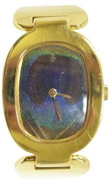 Corum 18K Yellow Gold Peacock Feather Dial Manual 28mm Vintage Womens Watch