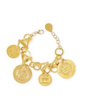 Devon Leigh Golden Coin Charm Bracelet