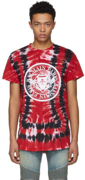 Balmain Red Tie-Dye Distressed Logo T-Shirt