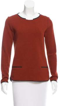 Veronica Beard Leather-Trimmed Long Sleeve Sweater