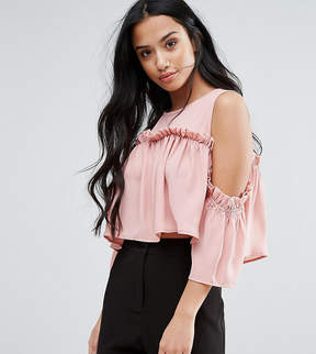 Fashion Union Petite Cold Shoulder Smock Top
