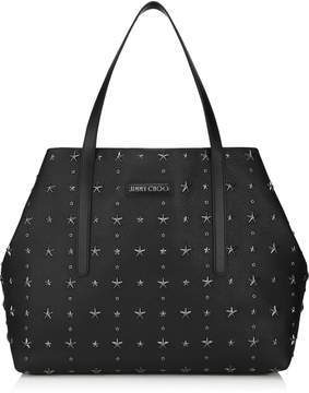 Jimmy Choo PIMLICO Black Grainy Calf with Black Crystal Stars Tote Bag
