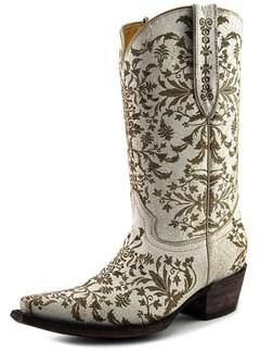 Very Volatile Taraji Women Pointed Toe Leather White Western Boot.
