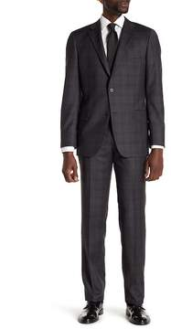 Hickey Freeman Charcoal Tonal Plaid Two Button Notch Lapel Classic Fit Suit