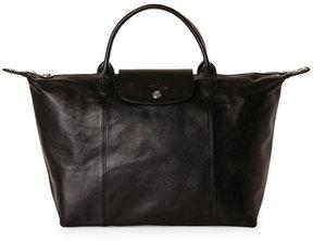Longchamp Noir Le Pliage Cuir Medium Tote - NOIR - STYLE