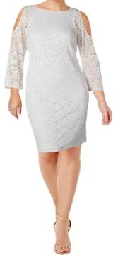 Nine West Womens Lace Cold Shoulder Special Occasion Dress
