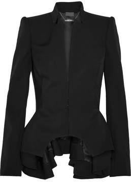 Alexander McQueen Grain De Poudre Wool Peplum Blazer - Black