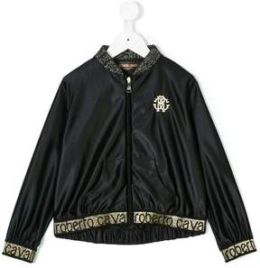 Roberto Cavalli glitter trim bomber jacket