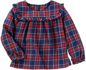 Osh Kosh Oshkosh Bgosh Baby Girl Ruffled Plaid Twill Top