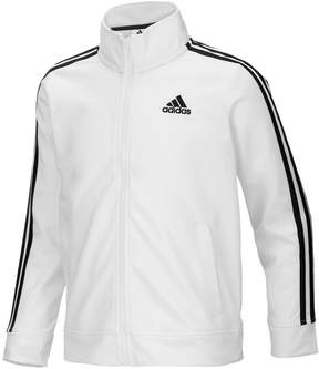 adidas Girls 4-6x Side Stripe White & Black Tricot Lightweight Jacket