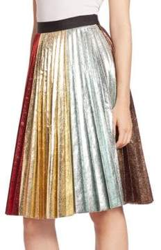 Metallic Accordion Rainbow Pleated Skirt