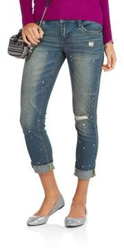 Dollhouse Juniors' Trendy High Cuff Distressed Skinny Jeans